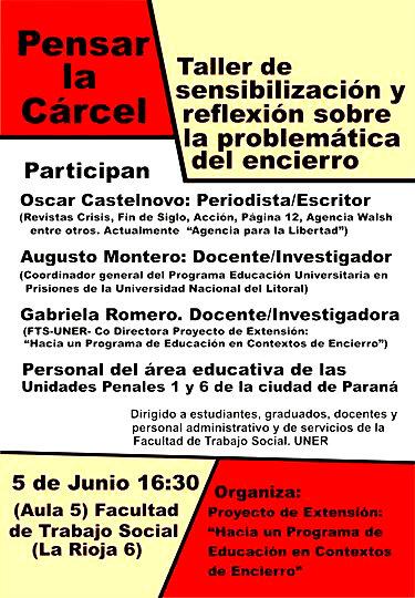 Paraná:Universidad Nacional de Entre Ríos: La Cárcel, reflexión y sensiblización