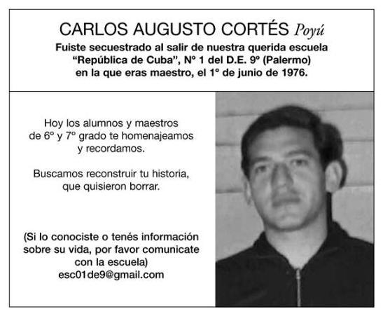 """Homenaje a  Carlos Augusto Cortés, """"Poyú"""", maestro desaparecido de la Escuela """"República de Cuba"""""""