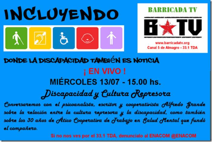 13/7 - 15 horas - Discapacidad y cultura represora, con Alfredo Grande