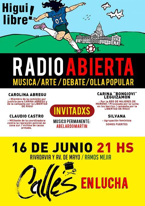 Olla popular y radio abierta de Calles en Lucha, en Ramos Mejía: 16/6- 21 horas