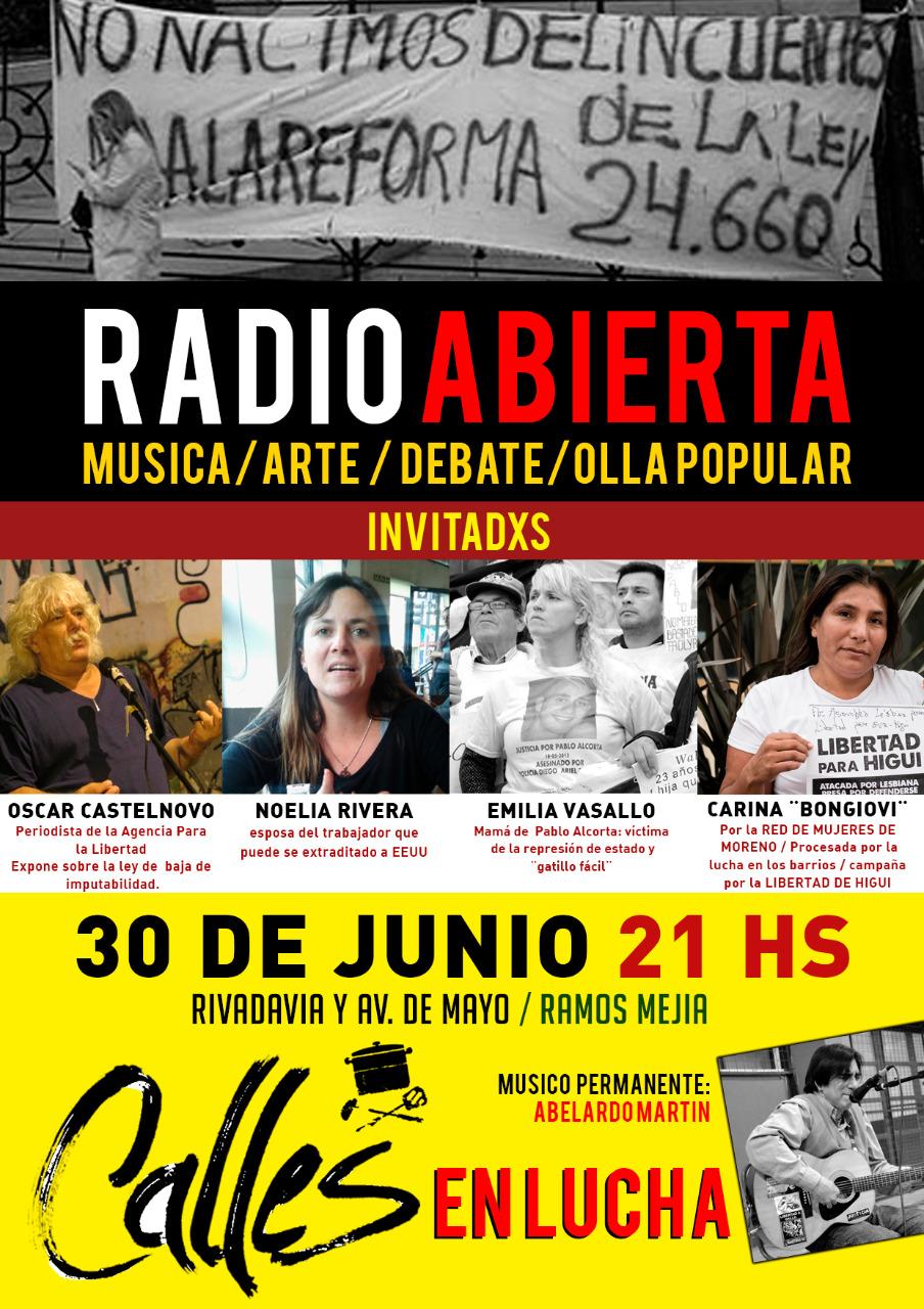 Debate, Radio Abierta y música en Ramos Mejía, viernes 30/6 - 21 horas-
