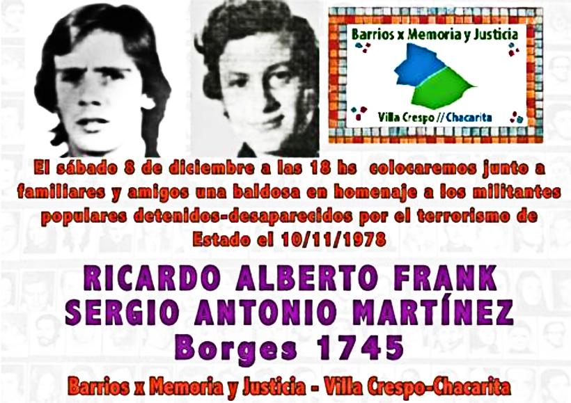 Una vereda de Palermo nos habla de dos compañeros revolucionarios: