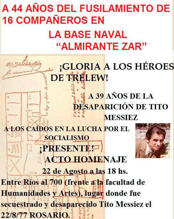 Rosario: Homenaje a los revolucionarios fusilados en Trelew en 1972 y a Tito Messiez desaparecido en 1977