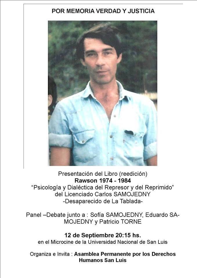 Juicio por crímenes de lesa humanidad y presentación del libro de Carlos Samojedny