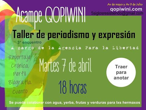 Nuevo encuentro del Taller de Periodismo en el Acampe Qopiwini