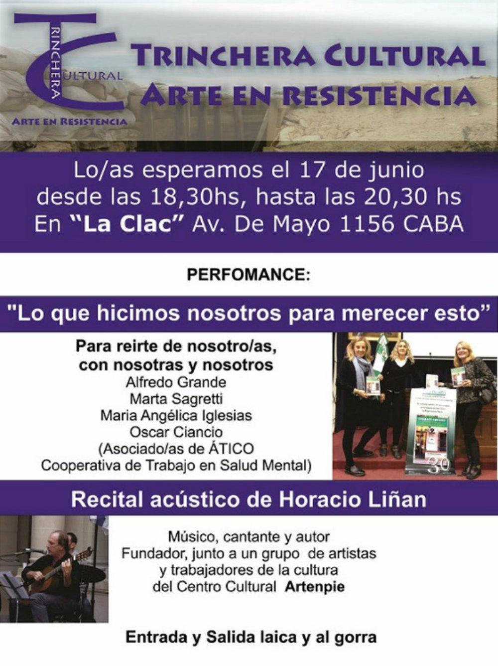 Trinchera Cultural:3 Espectáculos el sábado 1 de julio en La Clac