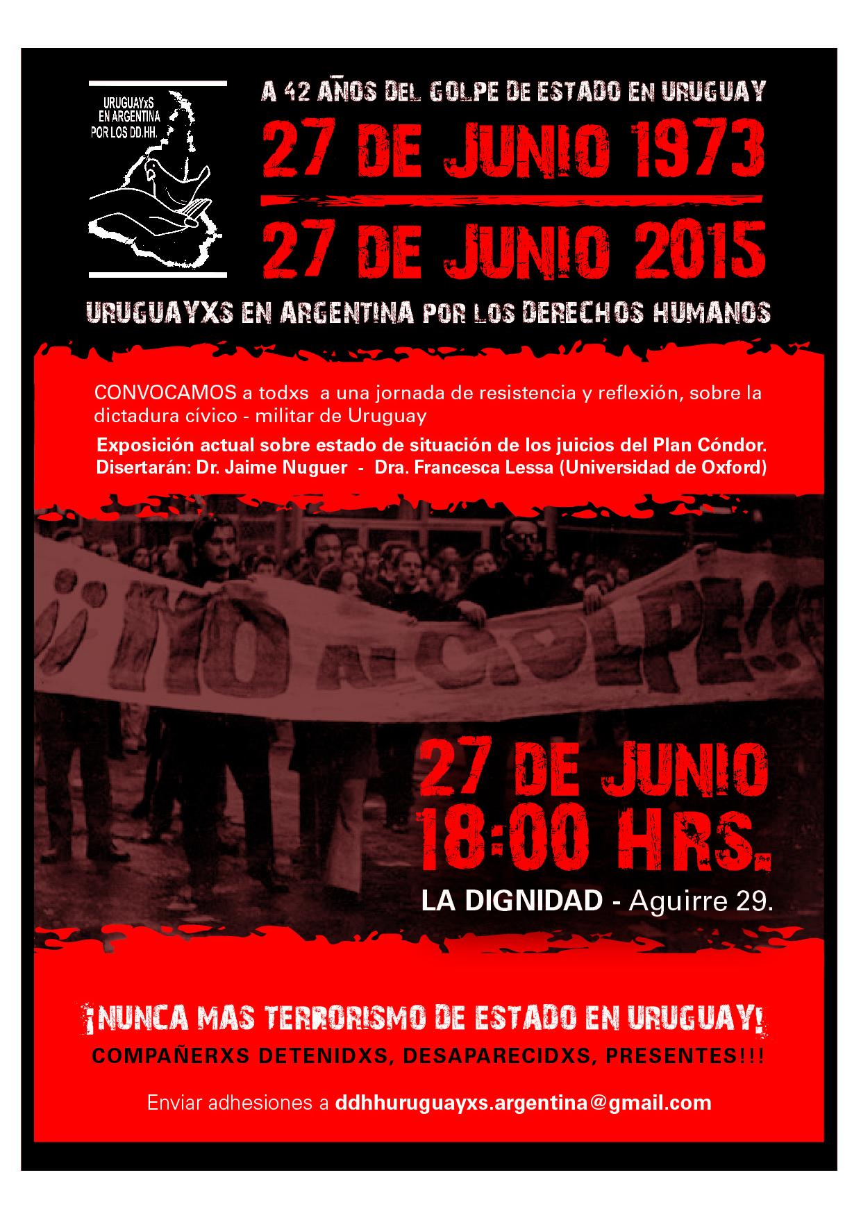 Uruguayos en la Argentina: acto de resistencia y reflexión a 42 años del golpe