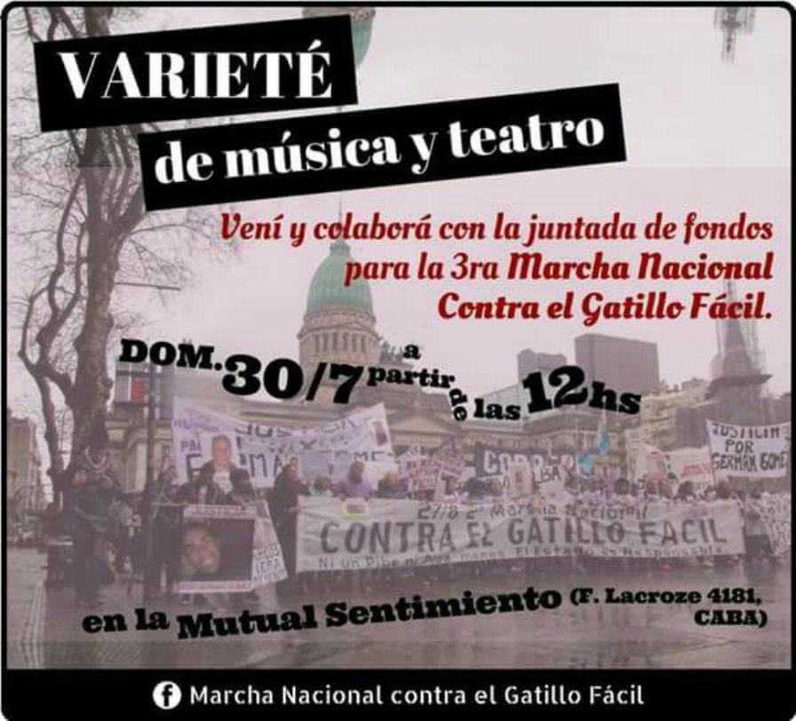 Música y teatro contra el gatillo fácil- 30/7 desde las 12 hs - Mutual Sentimiento- Federico Lacroze 4181, Caba -